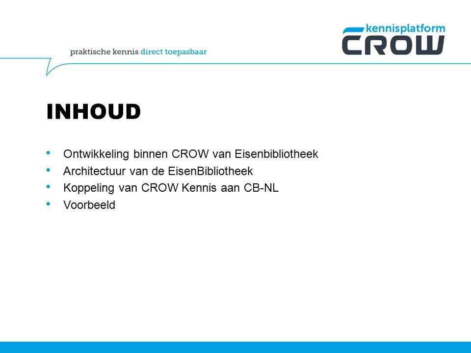 INHOUD Ontwikkeling binnen CROW van Eisenbibliotheek Architectuur van de EisenBibliotheek Koppeling van CROW Kennis aan CB-NL Voorbeeld