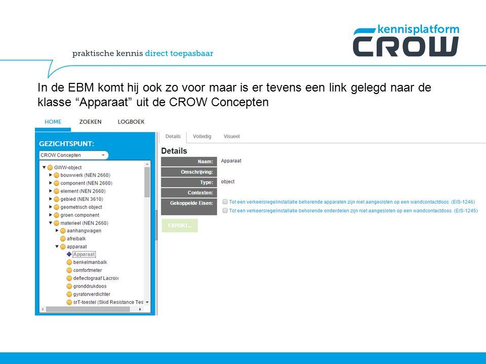 In de EBM komt hij ook zo voor maar is er tevens een link gelegd naar de klasse Apparaat uit de CROW Concepten