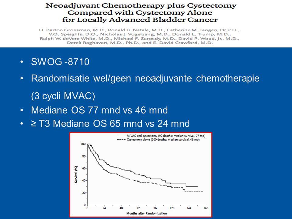 SWOG -8710 Randomisatie wel/geen neoadjuvante chemotherapie (3 cycli MVAC) Mediane OS 77 mnd vs 46 mnd ≥ T3 Mediane OS 65 mnd vs 24 mnd