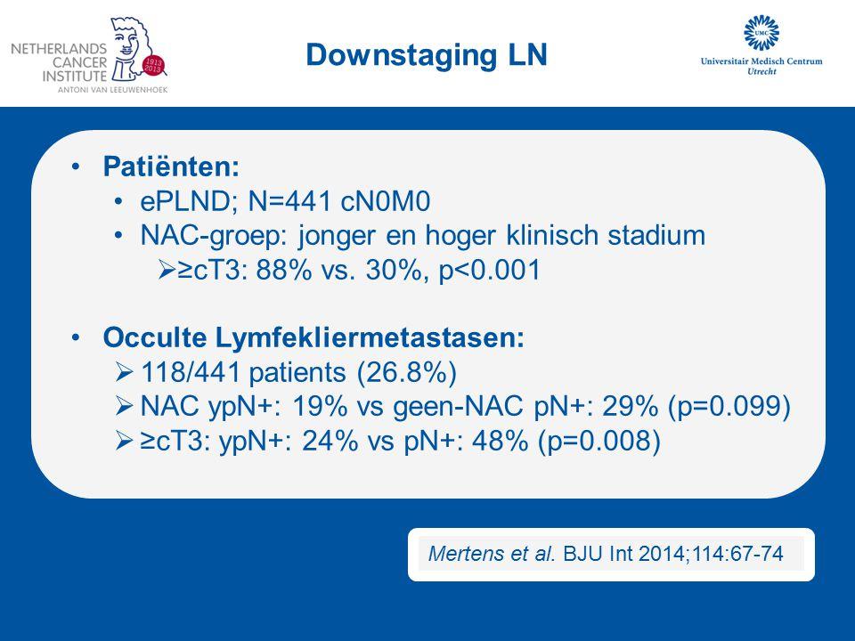 Downstaging LN Patiënten: ePLND; N=441 cN0M0 NAC-groep: jonger en hoger klinisch stadium  ≥cT3: 88% vs. 30%, p<0.001 Occulte Lymfekliermetastasen: 