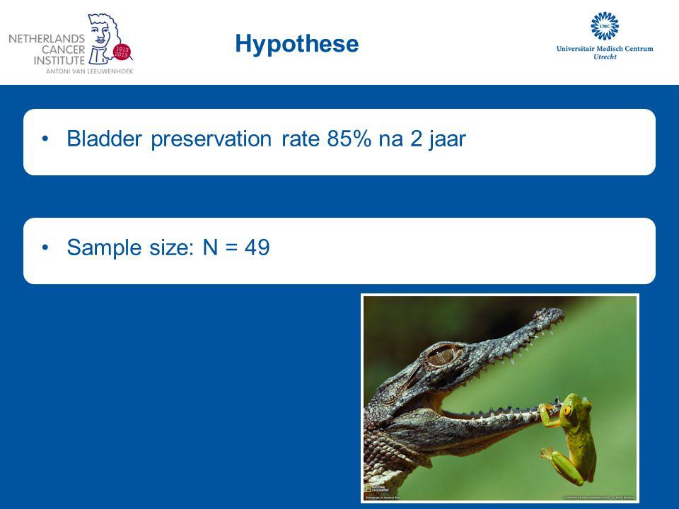 Hypothese Bladder preservation rate 85% na 2 jaarSample size: N = 49