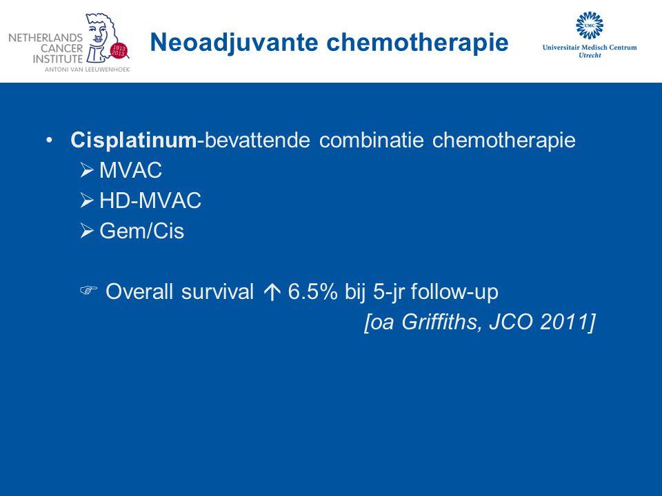 Inductie chemotherapie N+ Blaascarcinoom In opzet gepland voor chemotherapie + chirurgie Na 2 cycli chemotherapie respons evaluatie N = 149 Gemiddelde leeftijd 60 jaar Mediane follow-up 57 mnd