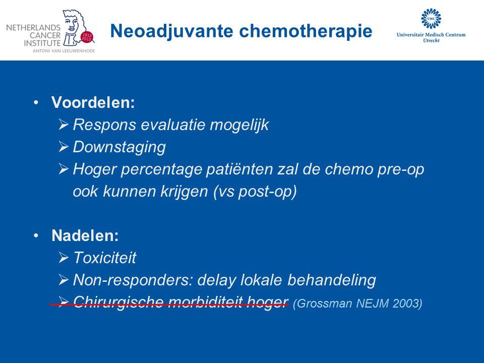Neoadjuvante chemotherapie Voordelen:  Respons evaluatie mogelijk  Downstaging  Hoger percentage patiënten zal de chemo pre-op ook kunnen krijgen (