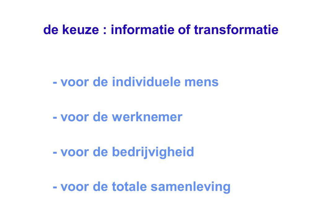 de keuze : informatie of transformatie - voor de individuele mens - voor de werknemer - voor de bedrijvigheid - voor de totale samenleving