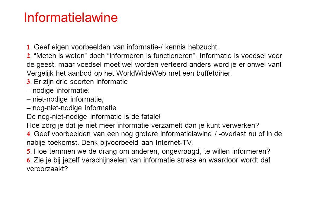 Informatielawine 1. Geef eigen voorbeelden van informatie-/ kennis hebzucht.