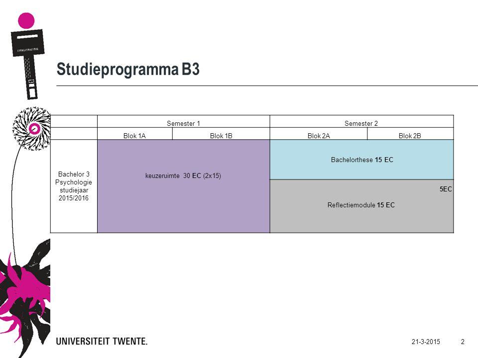 21-3-2015 2 Studieprogramma B3 Semester 1Semester 2 Blok 1ABlok 1BBlok 2ABlok 2B Bachelor 3 Psychologie studiejaar 2015/2016 keuzeruimte 30 EC (2x15) Bachelorthese 15 EC 5EC Reflectiemodule 15 EC