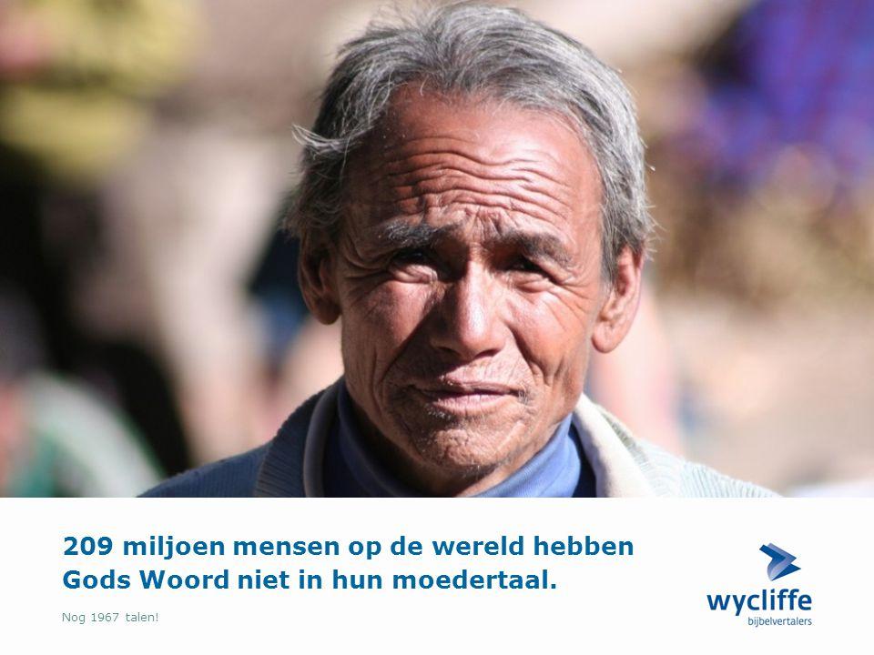 Nog 1967 talen! 209 miljoen mensen op de wereld hebben Gods Woord niet in hun moedertaal.