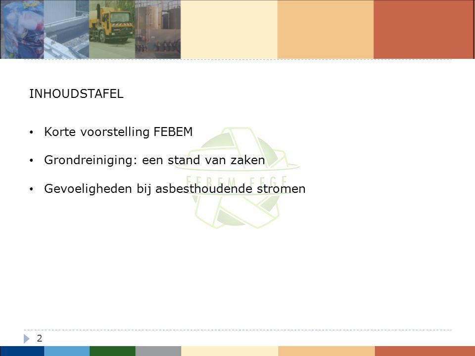 13 Reiniging asbesthoudende grond Niet-reinigbaarverklaring Evaluatie indien <10.000 ppm asbest Voor uitgegraven bodem => OVB-procedure Voor andere afvalstoffen (limitatieve EURAL-lijst) => FEBEM-procedure Ingebouwde voorwaarden ?.