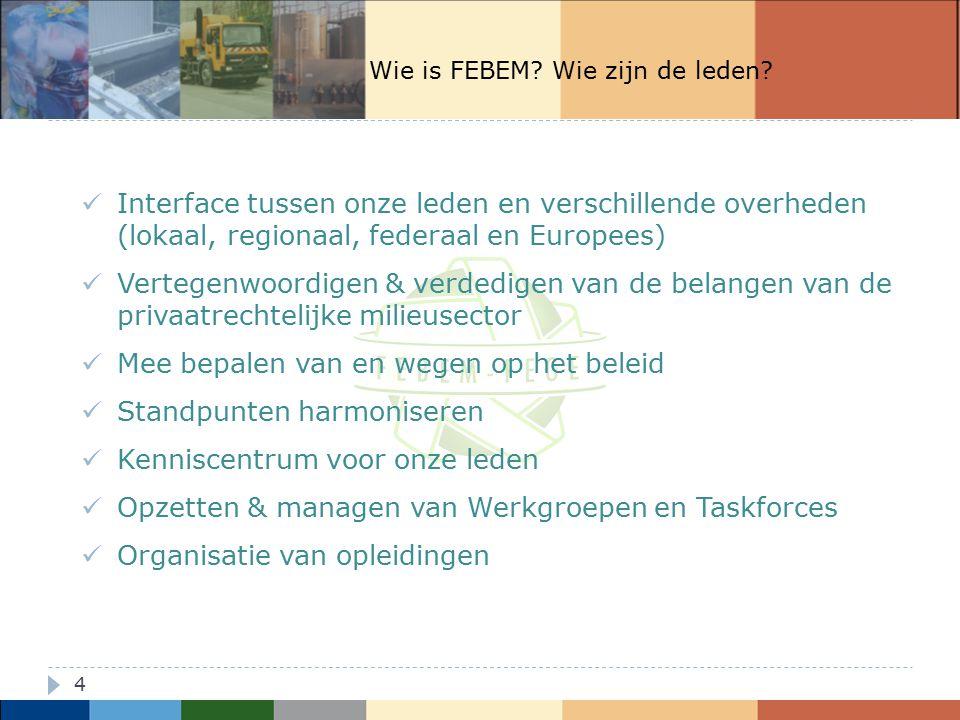 5 Engagement Raad van Bestuur van FEBEM: Zie strategische nota 2012-2018, 1 van de 5 thema's: FEBEM wil de grondreiniging in België verder laten ontwikkelen.