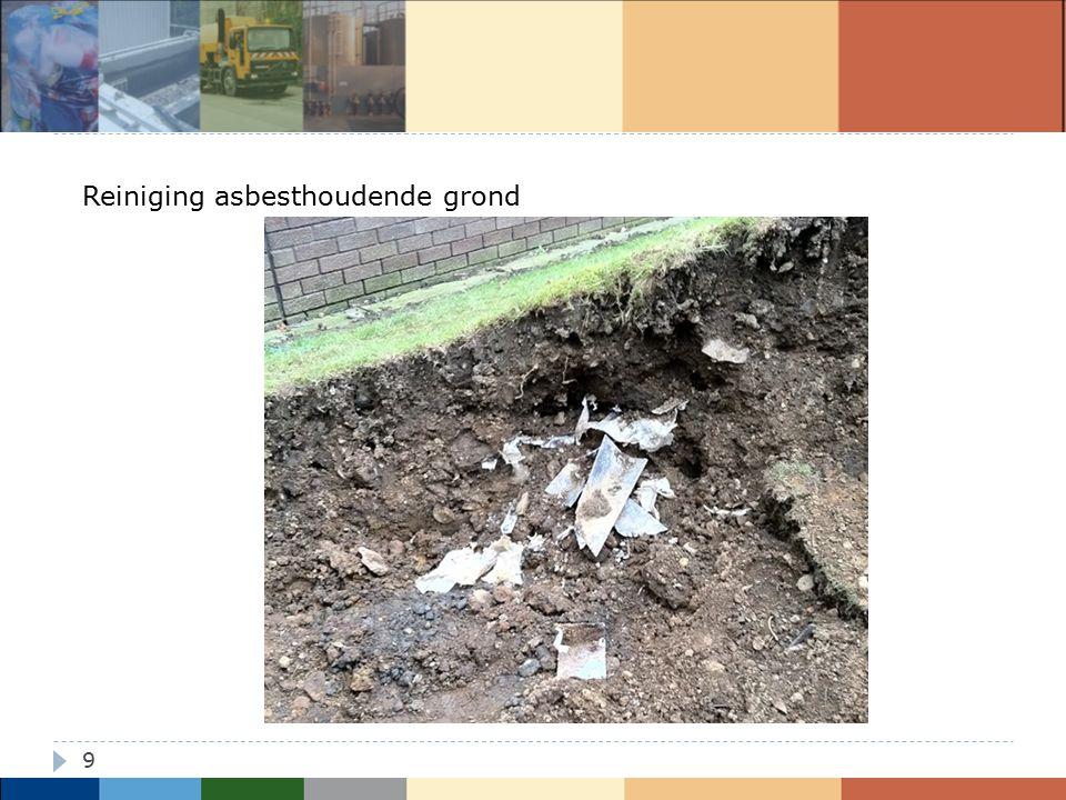 10 Reiniging asbesthoudende grond  Vergunning voor verwerking asbesthoudende grond  Procedure in werkplan, goedgekeurd door AMI  Technische installatie: aangepast  Beheersing verspreiding asbestvezels - naar milieu (cfr VLAREM, VLAREMA, VLAREBO) - naar mens (cfr ARAB, Codex)  Respecteren van Code van Goede praktijk voor grondreinigingscentra - Acceptatie - Opslag - Inkeuring (staalname, analyse, interpretatie) - Aanmaak productiebatch - Vuilvrachtreductie - Uitkeuring (staalname, analyse, interpretatie)  Respecteren grondverzetregelgeving - Tracering van A naar Z - Opvolging via erkende bodembeheersorganisatie