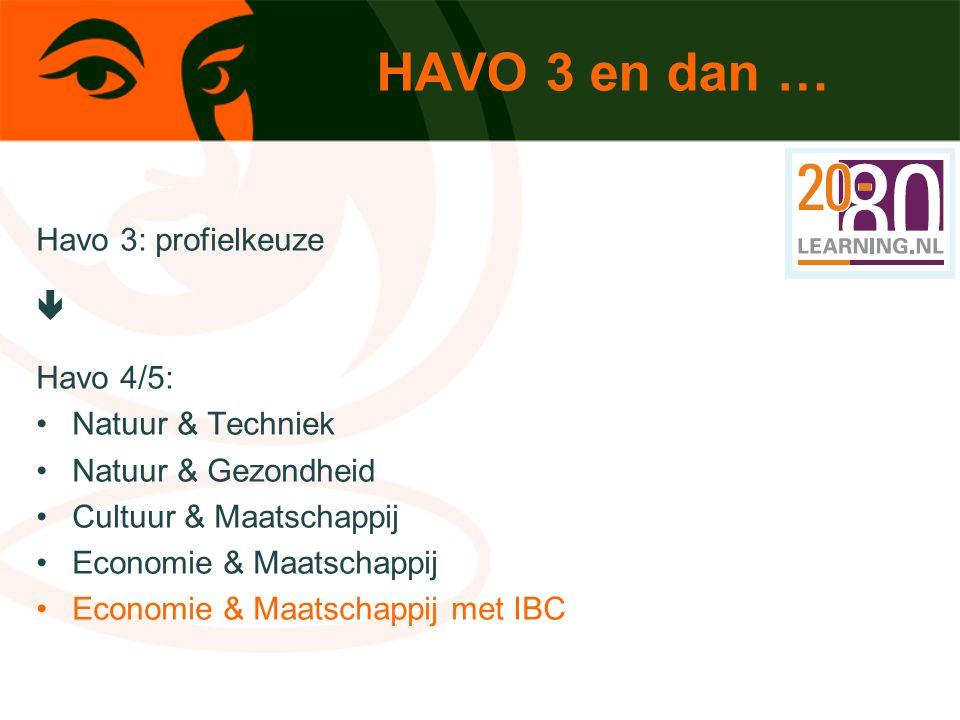 HAVO 3 en dan … Havo 3: profielkeuze  Havo 4/5: Natuur & Techniek Natuur & Gezondheid Cultuur & Maatschappij Economie & Maatschappij Economie & Maats