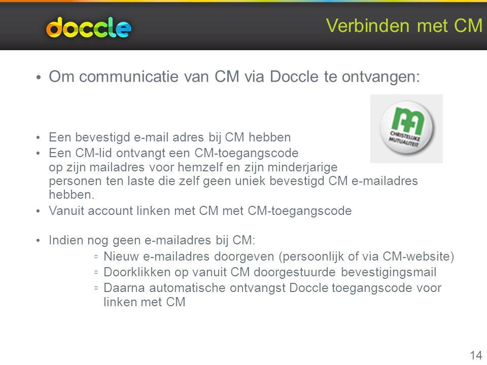 Verbinden met CM Om communicatie van CM via Doccle te ontvangen: Een bevestigd e-mail adres bij CM hebben Een CM-lid ontvangt een CM-toegangscode op z