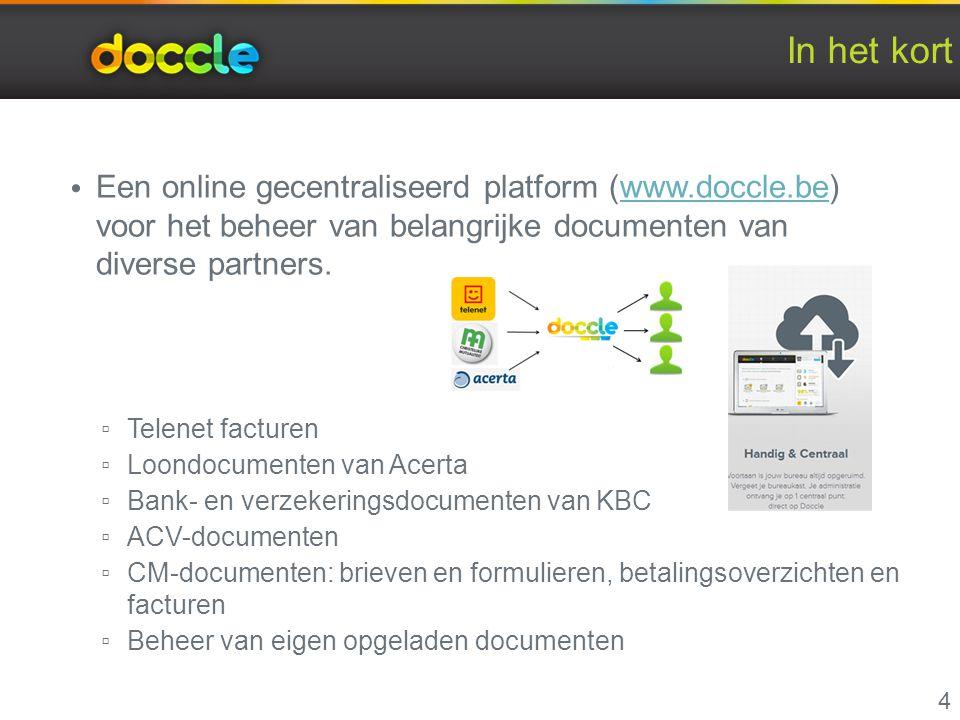 In het kort Een online gecentraliseerd platform (www.doccle.be) voor het beheer van belangrijke documenten van diverse partners.www.doccle.be ▫ Telene
