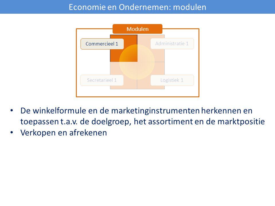 Economie en Ondernemen: modulen Commercieel 1 Secretarieel 1Logistiek 1 Administratie 1 Modulen De winkelformule en de marketinginstrumenten herkennen
