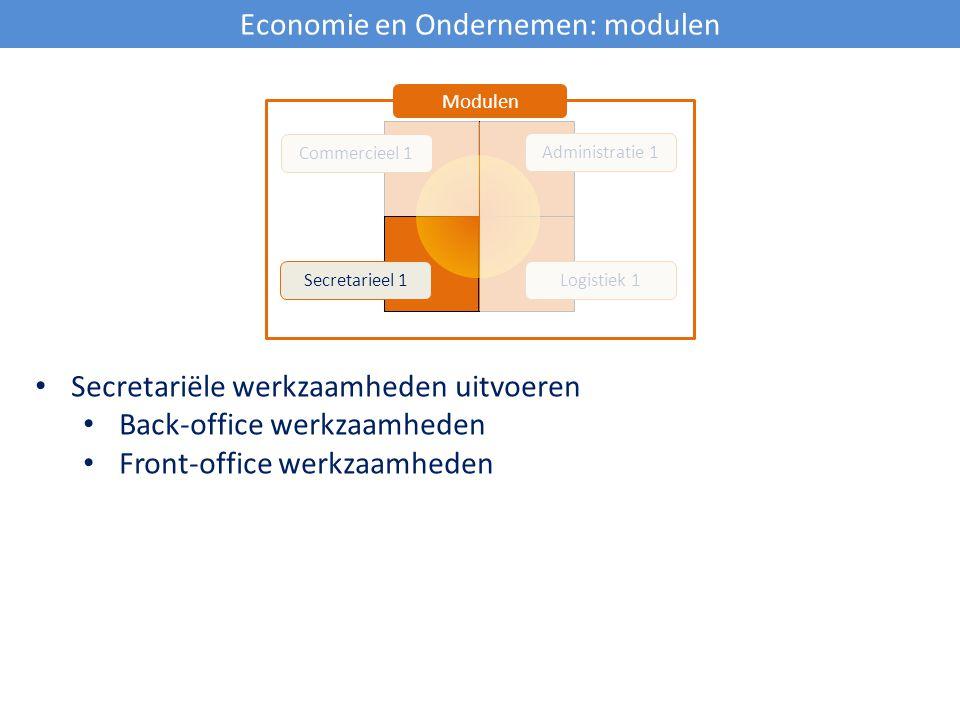 Economie en Ondernemen: modulen Commercieel 1 Secretarieel 1Logistiek 1 Administratie 1 Modulen Secretariële werkzaamheden uitvoeren Back-office werkz
