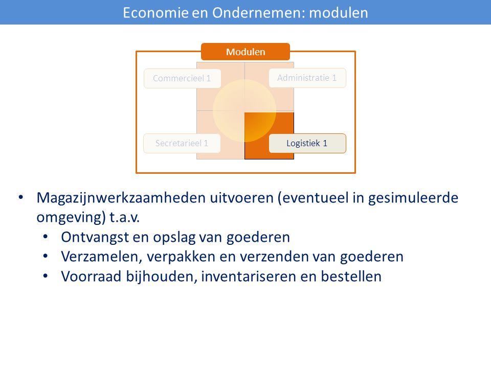 Economie en Ondernemen: modulen Commercieel 1 Secretarieel 1Logistiek 1 Administratie 1 Modulen Magazijnwerkzaamheden uitvoeren (eventueel in gesimule
