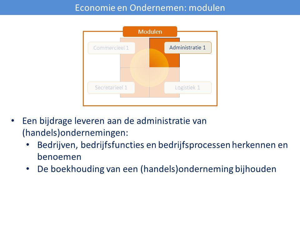 Economie en Ondernemen: modulen Commercieel 1 Secretarieel 1Logistiek 1 Administratie 1 Modulen Een bijdrage leveren aan de administratie van (handels