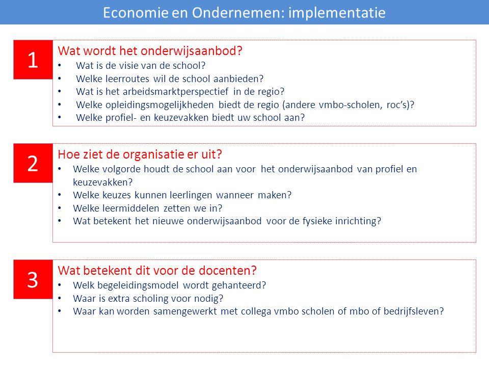 Economie en Ondernemen: implementatie 1 Wat wordt het onderwijsaanbod? Wat is de visie van de school? Welke leerroutes wil de school aanbieden? Wat is