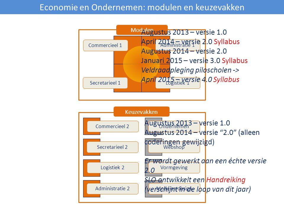 Economie en Ondernemen: modulen en keuzevakken Commercieel 1 Secretarieel 1Logistiek 1 Administratie 1 Administratie 2 Logistiek 2 Secretarieel 2 Comm