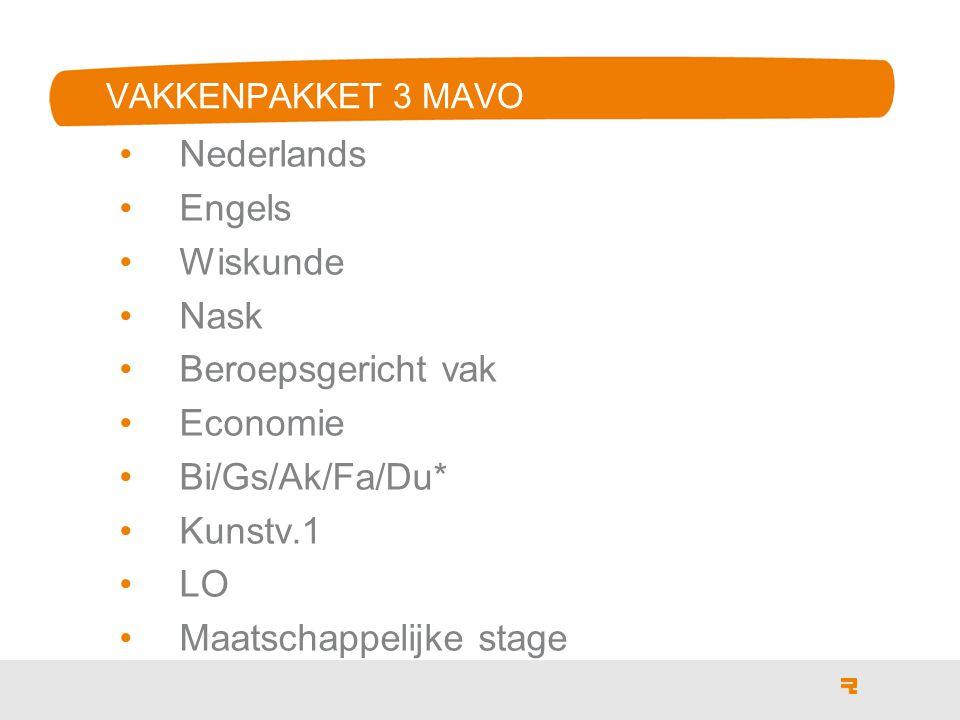 3 VAKKENPAKKET 3 MAVO Nederlands Engels Wiskunde Nask Beroepsgericht vak Economie Bi/Gs/Ak/Fa/Du* Kunstv.1 LO Maatschappelijke stage