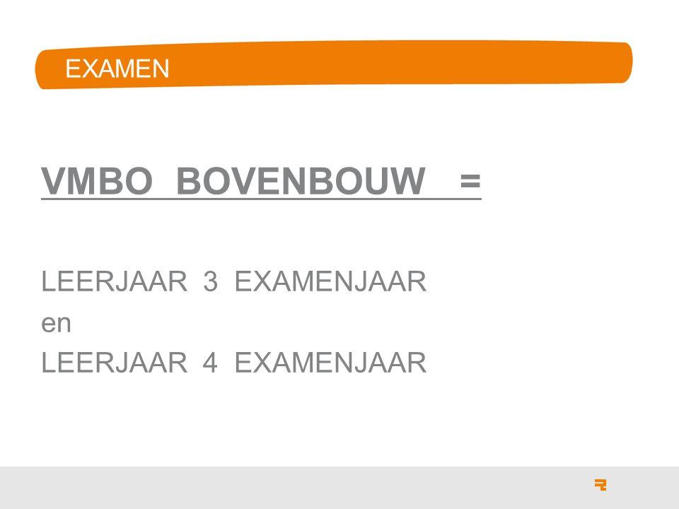 EXAMEN VMBO BOVENBOUW = LEERJAAR 3 EXAMENJAAR en LEERJAAR 4 EXAMENJAAR