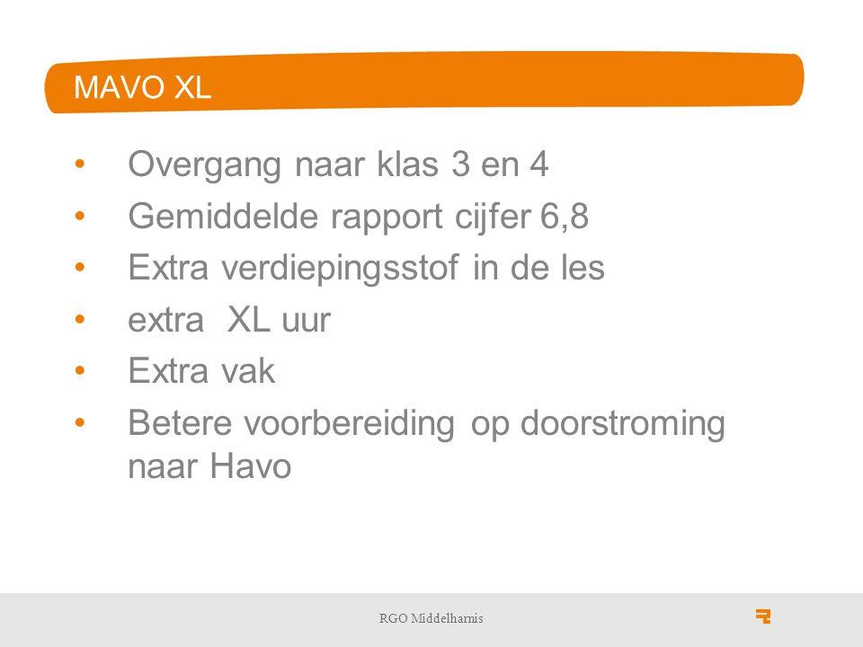 MAVO XL Overgang naar klas 3 en 4 Gemiddelde rapport cijfer 6,8 Extra verdiepingsstof in de les extra XL uur Extra vak Betere voorbereiding op doorstroming naar Havo RGO Middelharnis