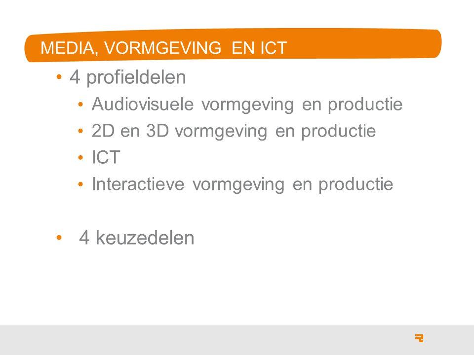 MEDIA, VORMGEVING EN ICT 4 profieldelen Audiovisuele vormgeving en productie 2D en 3D vormgeving en productie ICT Interactieve vormgeving en productie 4 keuzedelen