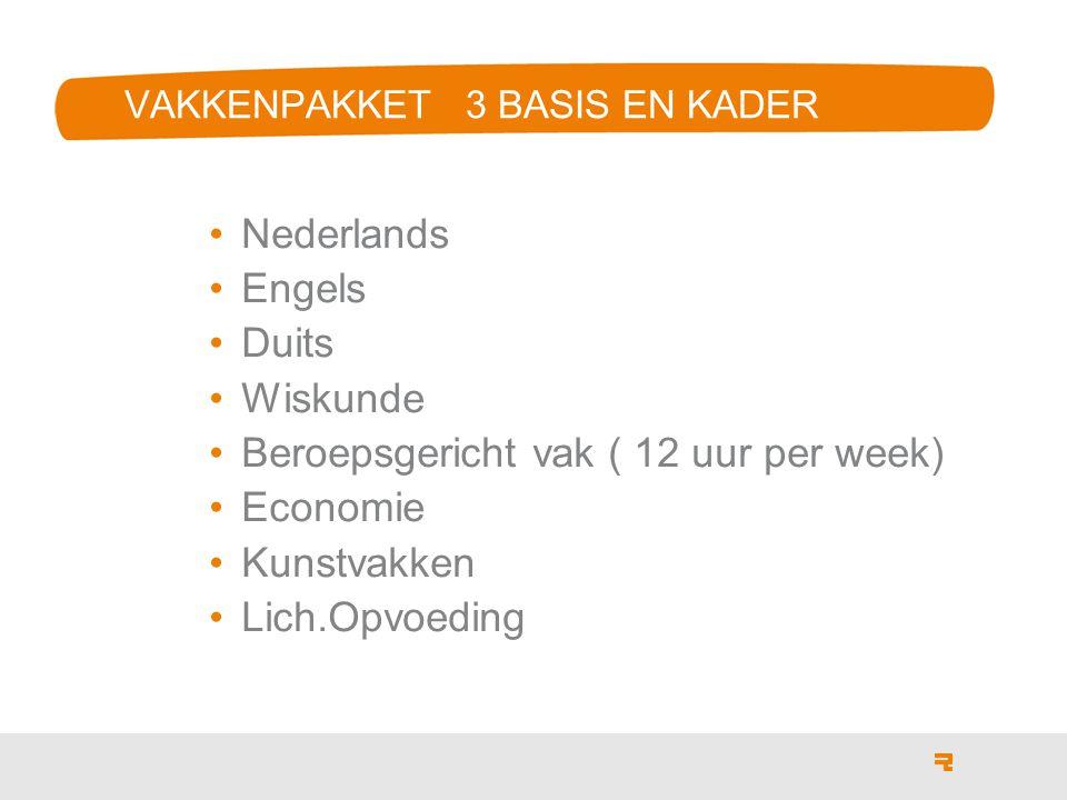 VAKKENPAKKET 3 BASIS EN KADER Nederlands Engels Duits Wiskunde Beroepsgericht vak ( 12 uur per week) Economie Kunstvakken Lich.Opvoeding