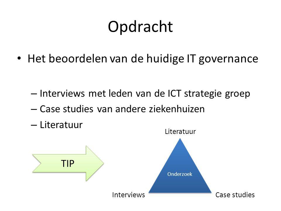 Opdracht Het beoordelen van de huidige IT governance – Interviews met leden van de ICT strategie groep – Case studies van andere ziekenhuizen – Litera
