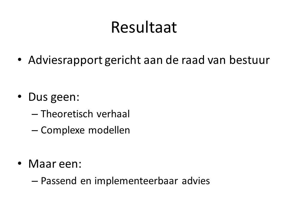 Resultaat Adviesrapport gericht aan de raad van bestuur Dus geen: – Theoretisch verhaal – Complexe modellen Maar een: – Passend en implementeerbaar ad