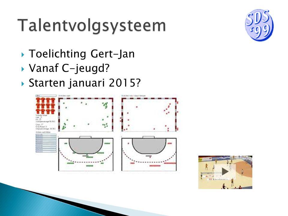  Toelichting Gert-Jan  Vanaf C-jeugd  Starten januari 2015