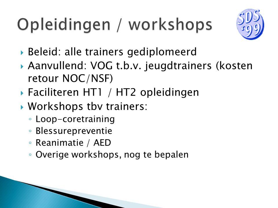  Beleid: alle trainers gediplomeerd  Aanvullend: VOG t.b.v. jeugdtrainers (kosten retour NOC/NSF)  Faciliteren HT1 / HT2 opleidingen  Workshops tb