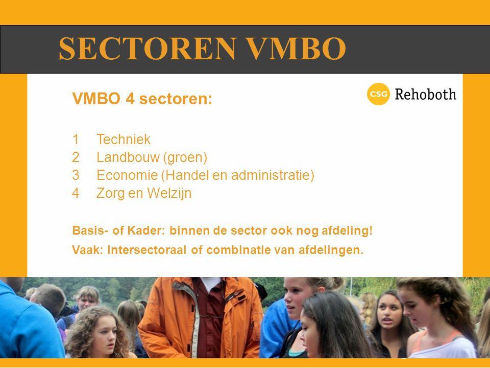 SECTOREN VMBO VMBO 4 sectoren: 1Techniek 2Landbouw (groen) 3Economie (Handel en administratie) 4Zorg en Welzijn Basis- of Kader: binnen de sector ook