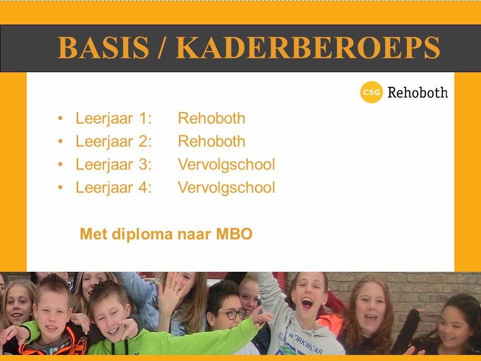 Doorstromen naar Middelbaar Beroeps Onderwijs (MBO) Basisberoeps:niveau 2 Kaderberoeps:niveau 3 en 4 NA VMBO