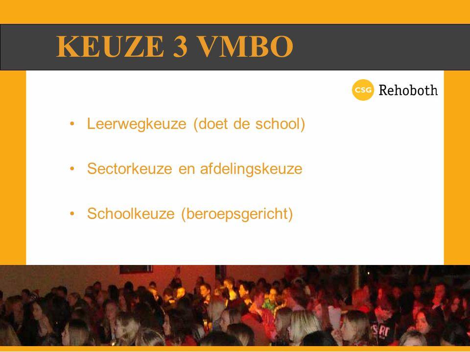 KEUZE 3 VMBO Leerwegkeuze (doet de school) Sectorkeuze en afdelingskeuze Schoolkeuze (beroepsgericht)