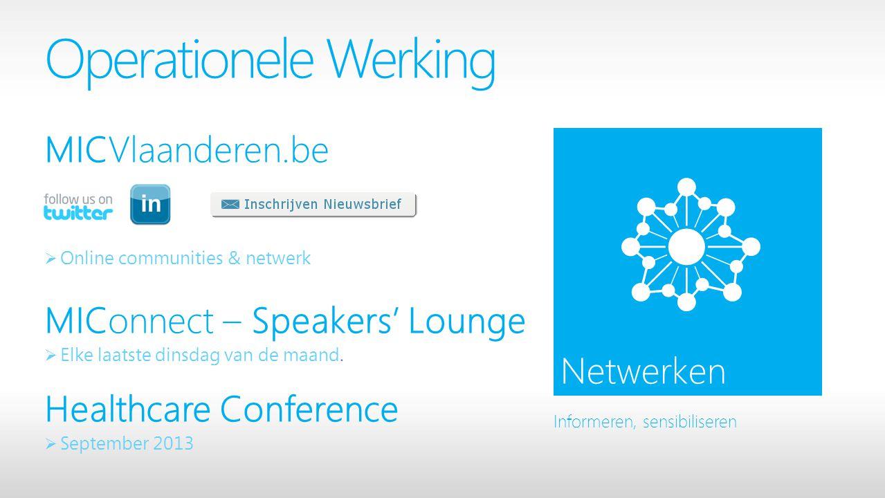 Operationele Werking MICVlaanderen.be  Online communities & netwerk MIConnect – Speakers' Lounge  Elke laatste dinsdag van de maand.