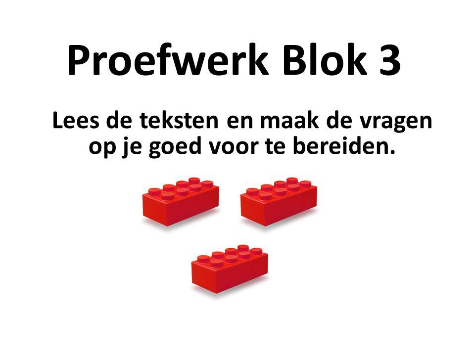 Proefwerk Blok 3 Lees de teksten en maak de vragen op je goed voor te bereiden.