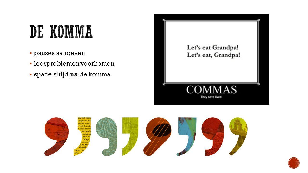 pauzes aangeven  leesproblemen voorkomen  spatie altijd na de komma
