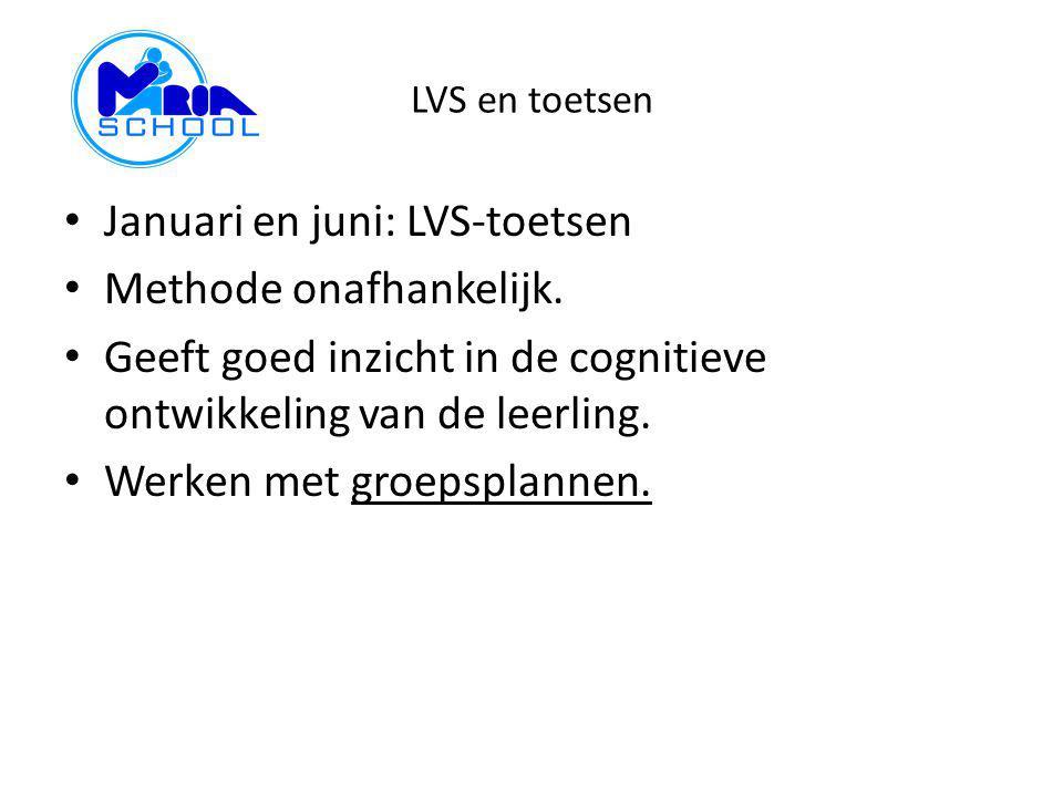 LVS en toetsen Januari en juni: LVS-toetsen Methode onafhankelijk. Geeft goed inzicht in de cognitieve ontwikkeling van de leerling. Werken met groeps