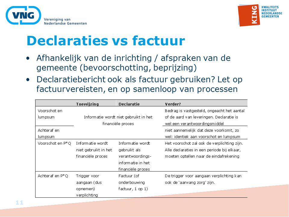 Declaraties vs factuur 11 Afhankelijk van de inrichting / afspraken van de gemeente (bevoorschotting, beprijzing) Declaratiebericht ook als factuur ge
