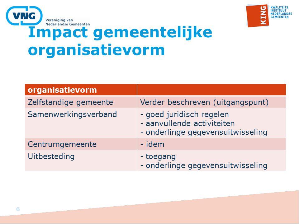 Impact gemeentelijke organisatievorm organisatievorm Zelfstandige gemeenteVerder beschreven (uitgangspunt) Samenwerkingsverband-goed juridisch regelen
