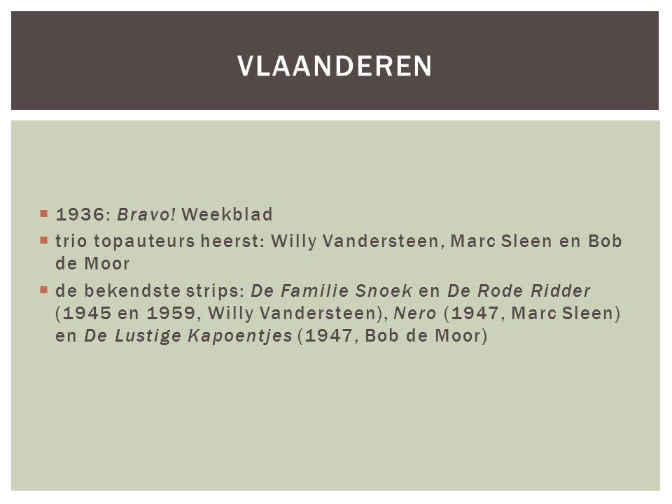  1936: Bravo! Weekblad  trio topauteurs heerst: Willy Vandersteen, Marc Sleen en Bob de Moor  de bekendste strips: De Familie Snoek en De Rode Ridd
