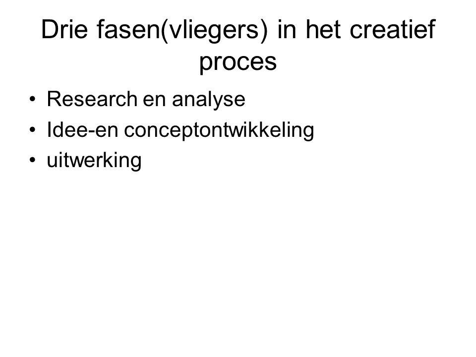 Drie fasen(vliegers) in het creatief proces Research en analyse Idee-en conceptontwikkeling uitwerking