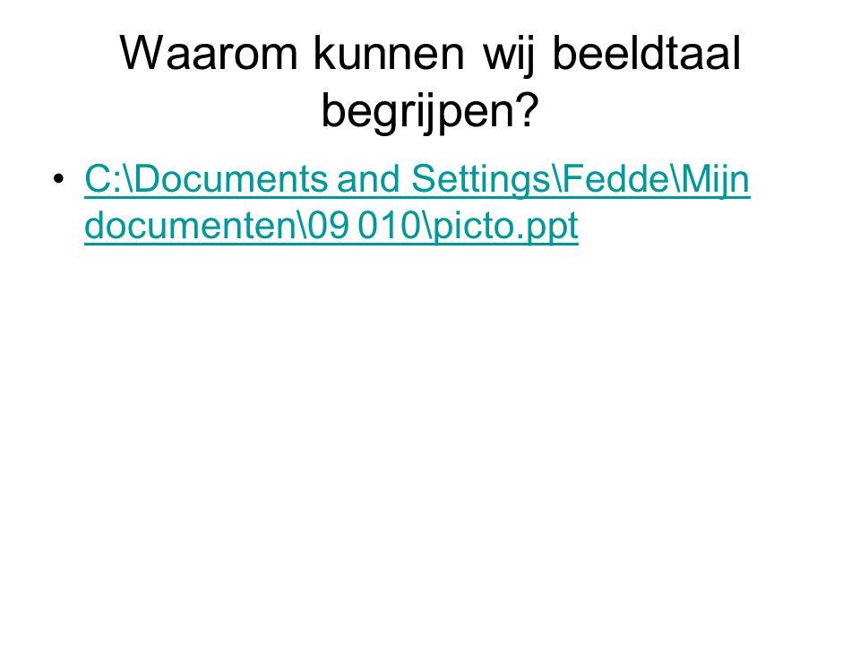 Waarom kunnen wij beeldtaal begrijpen? C:\Documents and Settings\Fedde\Mijn documenten\09 010\picto.pptC:\Documents and Settings\Fedde\Mijn documenten