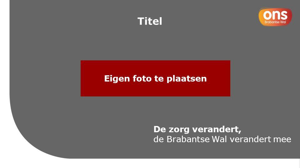 Eigen foto te plaatsen De zorg verandert, de Brabantse Wal verandert mee Titel