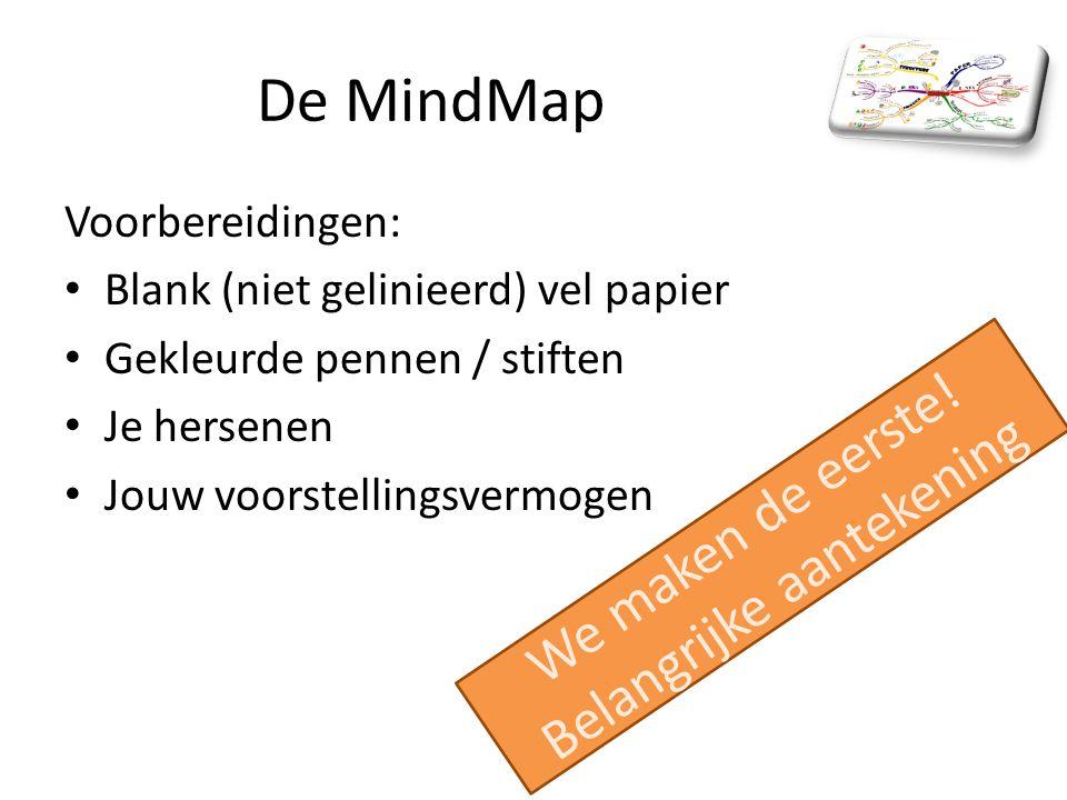De MindMap Voorbereidingen: Blank (niet gelinieerd) vel papier Gekleurde pennen / stiften Je hersenen Jouw voorstellingsvermogen We maken de eerste.