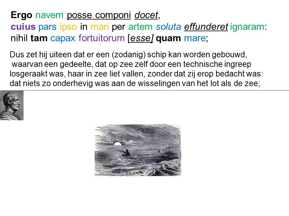 Dus zet hij uiteen dat er een (zodanig) schip kan worden gebouwd, waarvan een gedeelte, dat op zee zelf door een technische ingreep losgeraakt was, haar in zee liet vallen, zonder dat zij erop bedacht was: dat niets zo onderhevig was aan de wisselingen van het lot als de zee; Ergo navem posse componi docet, cuius pars ipso in mari per artem soluta effunderet ignaram: nihil tam capax fortuitorum [esse] quam mare;
