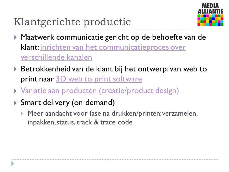 Klantgerichte productie  Maatwerk communicatie gericht op de behoefte van de klant: inrichten van het communicatieproces over verschillende kanalenin