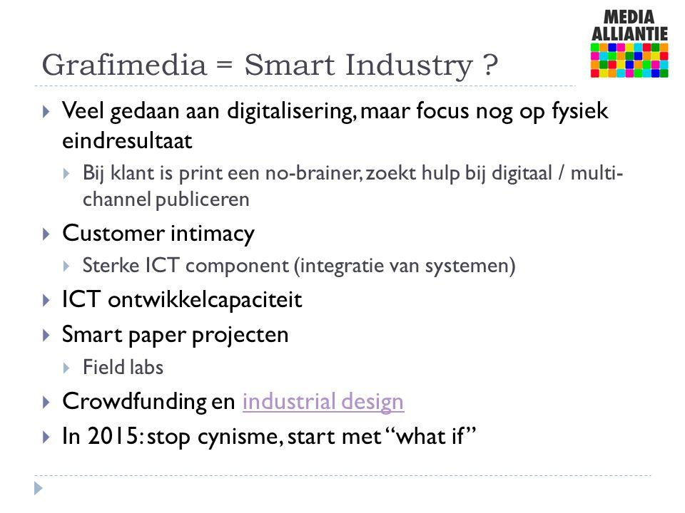 Grafimedia = Smart Industry ?  Veel gedaan aan digitalisering, maar focus nog op fysiek eindresultaat  Bij klant is print een no-brainer, zoekt hulp
