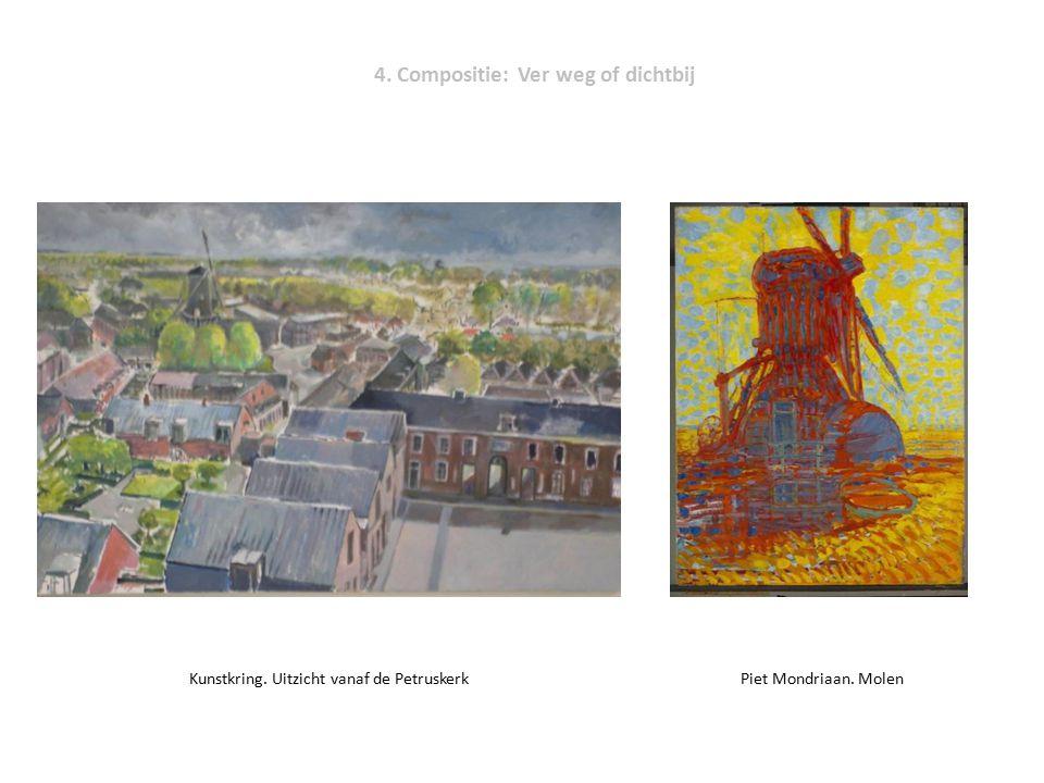 4. Compositie: Ver weg of dichtbij Kunstkring. Uitzicht vanaf de Petruskerk Piet Mondriaan. Molen